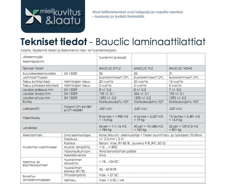 Tekniset tiedot – Bauclic