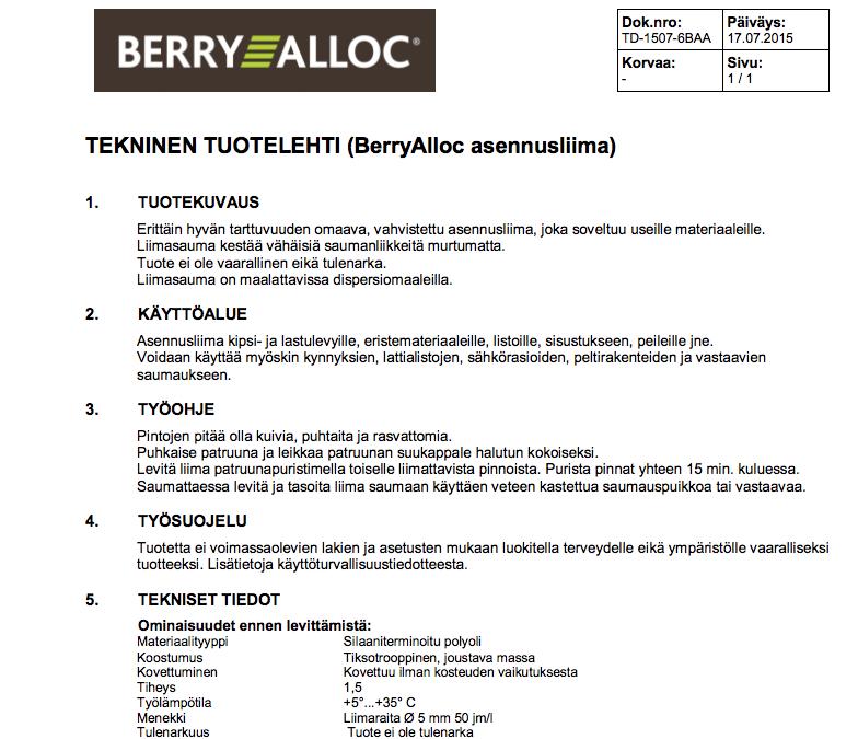 Asennusliima Berry Alloc – tekninen tuotelehti