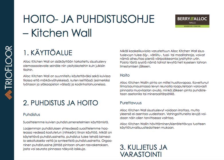 Hoito- ja puhdistusohje – Kitchen Wall